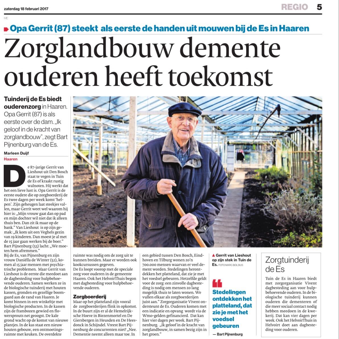 Artikel Brabants Dagblad Zorg voor mensen met dementie op ...
